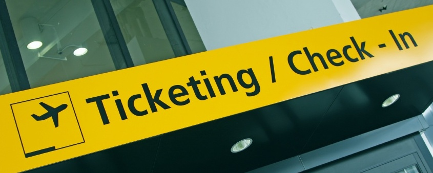 Airport ticketing/Check-In sign